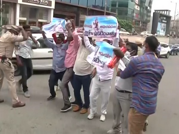 Protesters staging protest outside CM Camp Office, Hyderabad (Photo/ANI)
