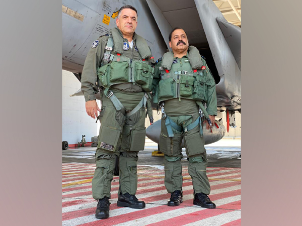 Indian Air Force chief RKS Bhadauria (R) with  Major Geneneral Amikam Norkin, Commander Israeli Air Force.