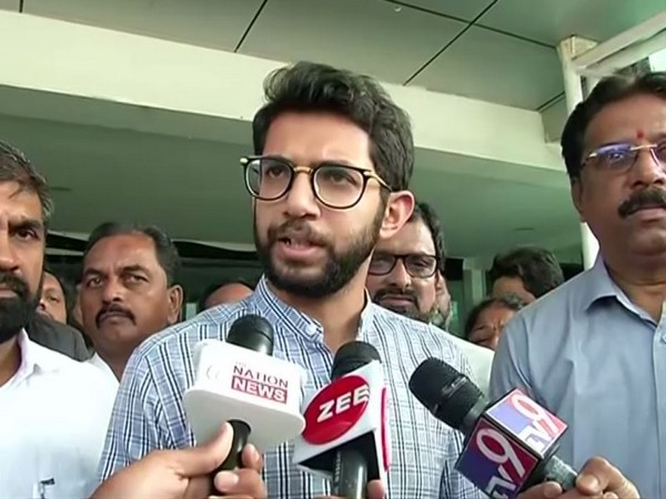 Shiv Sena leader Aaditya Thackeray speaking to reporters ANI on Friday. Photo/ANI