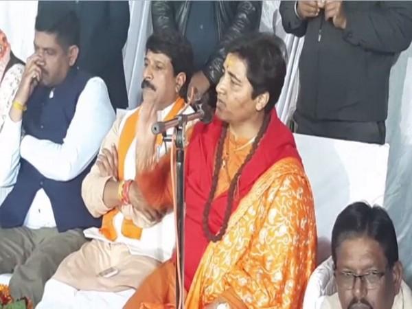 Pragya Thakur addressing a gathering in Sehore, Madhya Pradesh. Photo/ANI