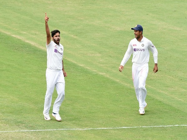 India bowler Shardul Thakur celebrates the fall of an Australia wicket (Image: BCCI Twitter)