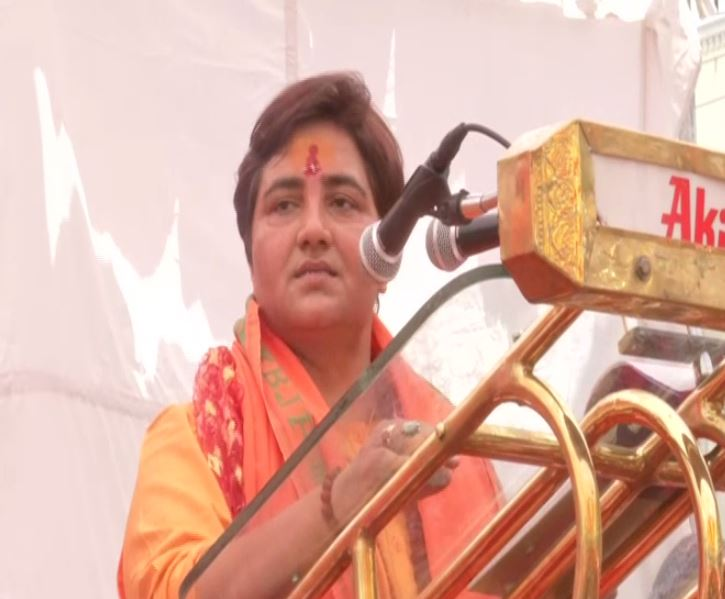 Sadhvi Pragya Singh Thakur addressing a public rally at Bhopal on Tuesday