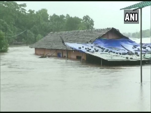 One of the houses submerged in water on Saturday in Thane. Photo/ANI