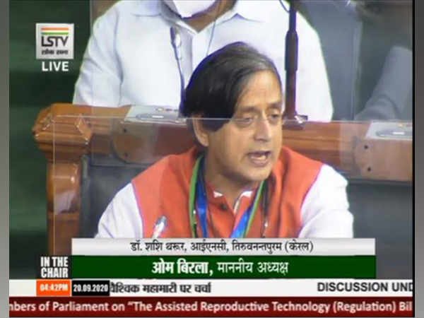 Congress MP Shashi Tharoor speaking in Lok Sabha on Sunday.