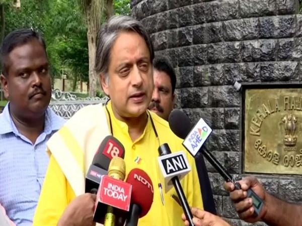 Congress leader Shashi Tharoor speaking to reporters in Thiruvananthapuram on Tuesday. Photo/ANI