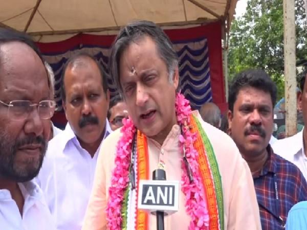 Congress leader Shashi Tharoor speaking to ANI in Trivandrum, Kerala on Sunday. Photo/ANI