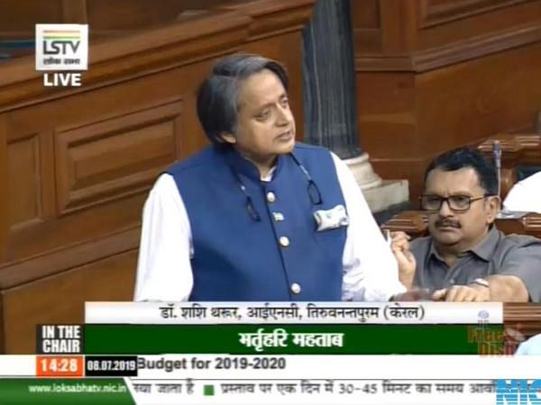 Congress leader Shashi Tharoor in Lok Sabha on Monday. (Courtesy-Lok Sabha)