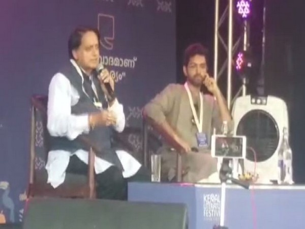 Congress leader Shashi Tharoor speaking at an event in Kozhikode Kerala on Sunday