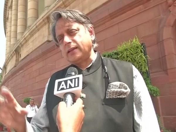 Congress leader Shashi Tharoor speaking to ANI on Monday [Photo/ANI]