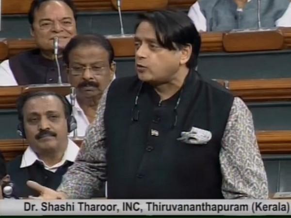 Congress MP Shashi Tharoor speaking in Lok Sabha on Wednesday