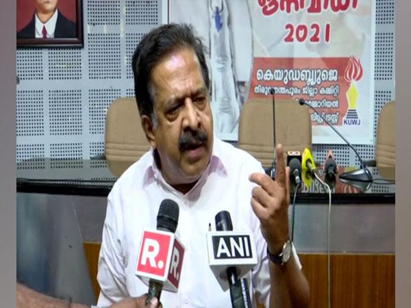 Congress leader Ramesh Chennithala speaking to reporters in Thiruvananthapuram.