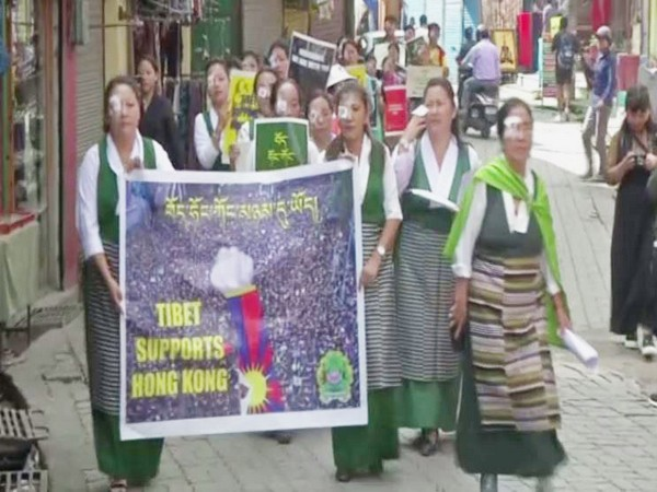 Tibetans hold protest in Dharamshala in solidarity with Hong Kong on Saturday