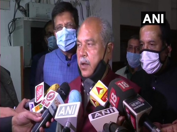 Union Agriculture Minister Narendra Singh Tomar speaking to media on Tuesday. (Photo/ANI)