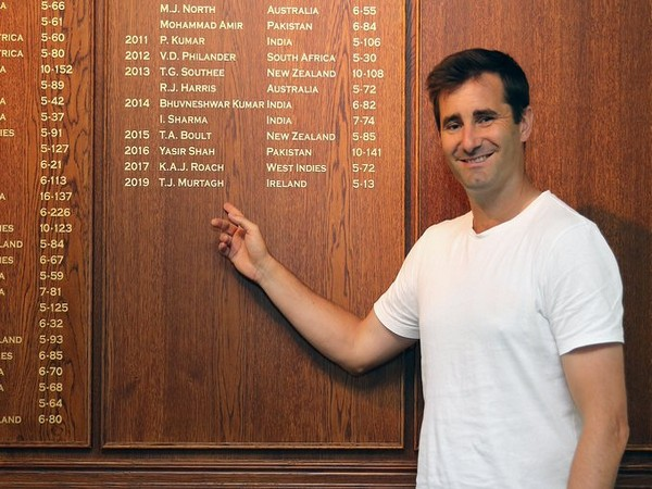 Ireland's Tim Murtagh pointing his name on Lord's Honours Board (Photo/Cricket Ireland Twitter)