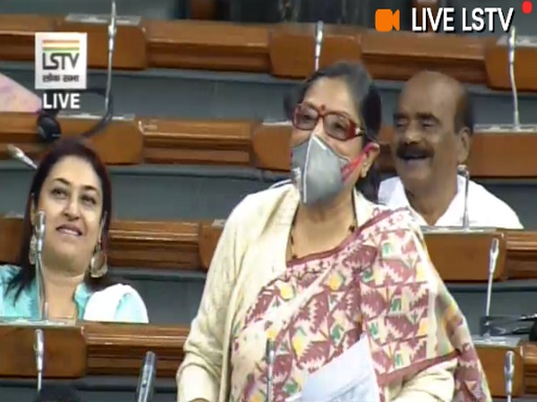 TMC MP Kakoli Ghosh Dastidar wore a mask while speaking on air pollution in Lok Sabha on Tuesday. Photo/ANI