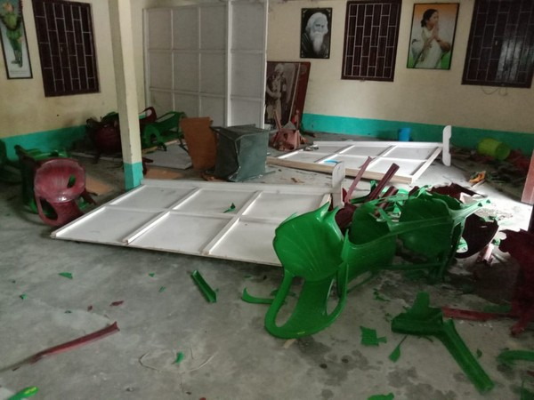 A TMC office in Cooch Behar, West Bengal, was allegedly vandalised by BJP workers on July 18. Photo/ANI