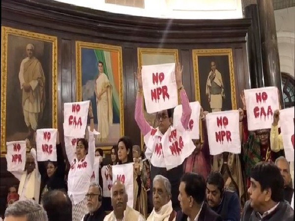 TMC MPs protesting in the Parliament on Friday.