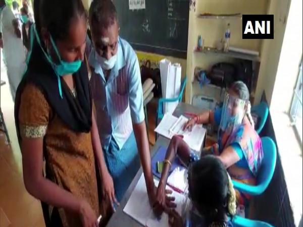 Visuals of people casting vote at a polling booth in Tamil Nadu.