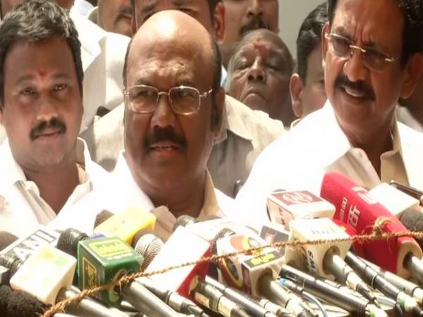 Tamil Nadu Fisheries Minister D Jayakumar while addressing the media on Friday. (Photo: ANI)