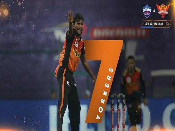 Sunrisers Hyderabad bowler T Natarajan (Image: SRH's Twitter)