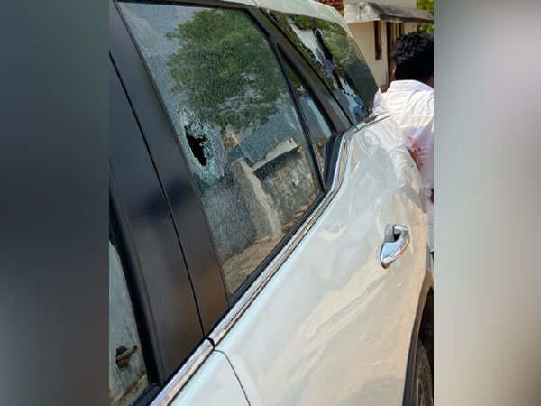 AIADMK MP P Ravindranath's car was allegedly attacked in Bodinayakanur on Tuesday.
