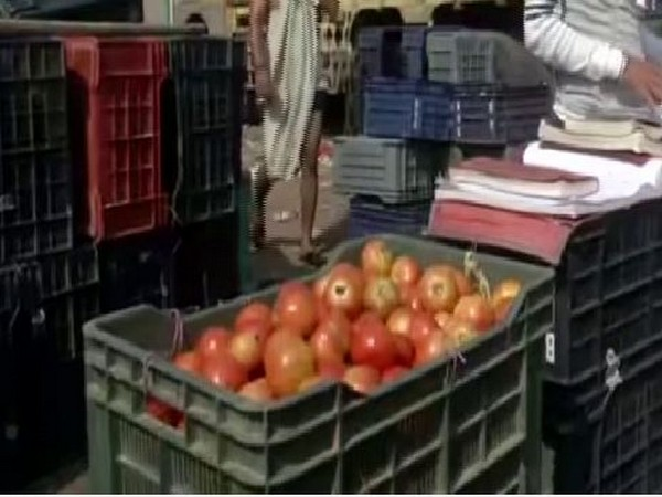 Tomatoes are being sold at Rs 30-40 per kg in Delhi. Photo/ANI