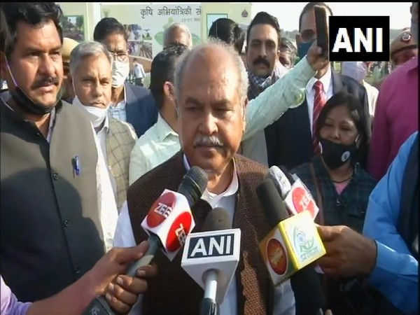 Union Agriculture Minister Narendra Singh Tomar speaking to media on Thursday. (Photo/ANI)