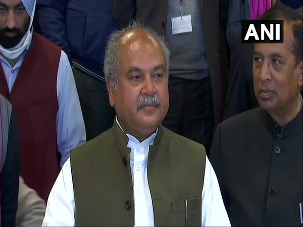 Union Agriculture Minister Narendra Singh Tomar talking to media in New Delhi on Friday. (Photo/ANI)