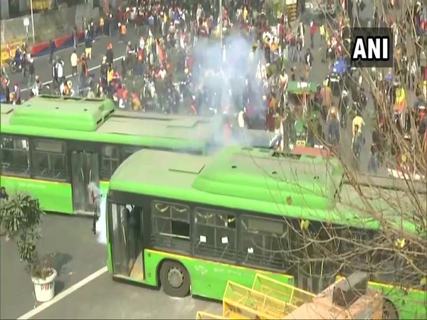 A visual from farmers' tractor rally/. (Photo/ANI)