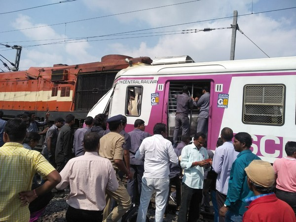 Visual of the accident that took place at the Kacheguda Railway Station in Hyderabad on Monday. (Photo/ANI)