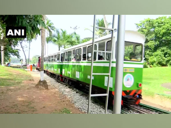 India's first solar energy-driven miniature train at Veli Tourist Village in Thiruvananthapuram on Saturday. (Photo/ANI)