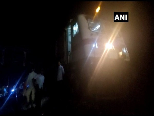 Visual from the spot where the Kerala Express derailed in Chittoor on Saturday. Photo/ANI