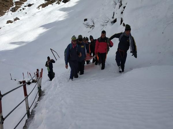 The Japanese trekker was taken to Gaurikund Hospital on a stretcher. Photo/ANI