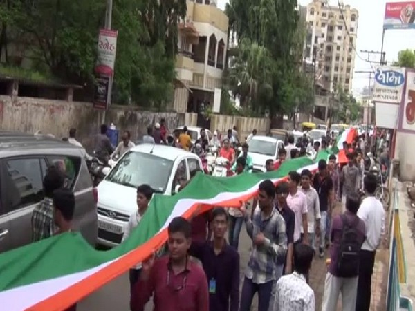 A few of tricolor journey ahead of Independence Day celebration on Wednesday. Photo/ANI
