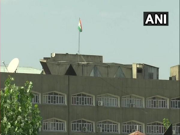 Tricolour flying atop  at the Civil Secretariat in Srinagar on Sunday. Photo/ANI