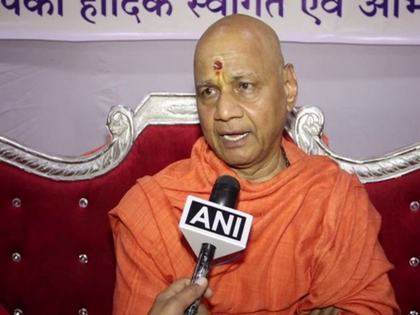 Shri Ram Janmbhoomi Teerth Kshetra trust treasurer Swami Govind Dev Giri speaking to ANI in Surat on Friday. (Photo/ANI)