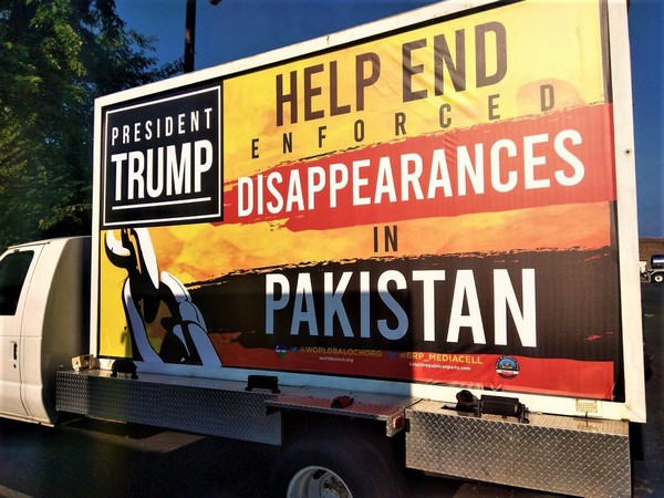 Hoardings urging US President Donald Trump to help end Pakistan's enforced disappearances in Washington (Photo/WBO Twitter)