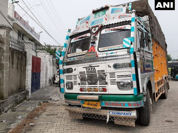 The truck from where JeM terrorists along with arms and ammunition were held by the Kathua Police on Thursday. Photo/ANI