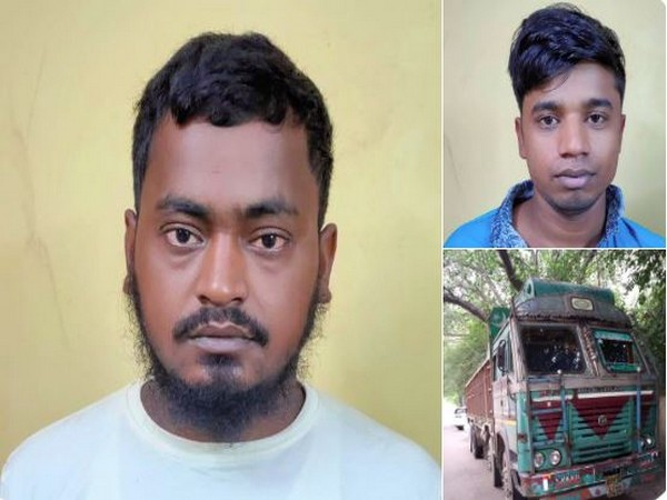 Baizlur Rehman and Mohammad Abu Bakkar Siddique, with the truck in which they were carrying 10.5 kg heroin. Photo/ANI