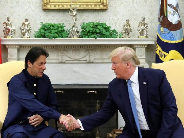 Pakistani Prime Minister Imran Khan with US President Donald Trump in Washington on July 22 (file photo)