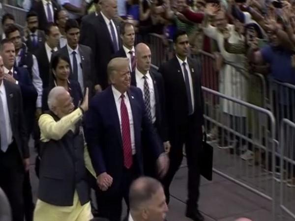 Prime Minister Narendra Modi and US President Donald Trump at the NRG Stadium in Houston for 'Howdy Modi!' on Sunday (Photo/ANI)