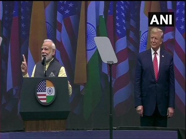 Prime Minister Narendra Modi with US President Donald Trump in Houston on Sunday (Photo/ANI)