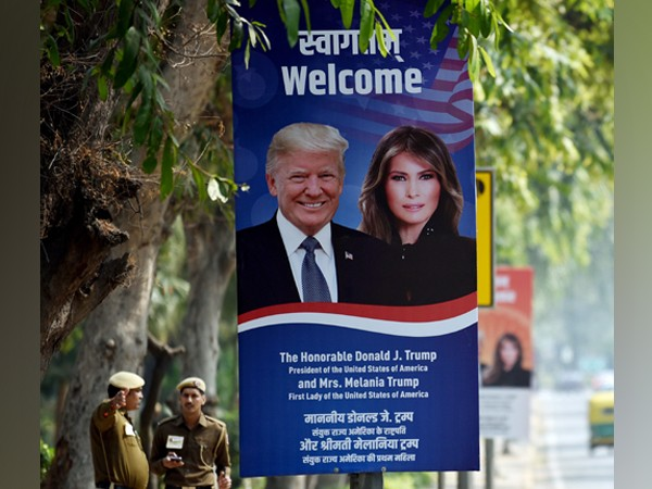 A hoarding of US President Donald Trump with First Lady Melania Trump.