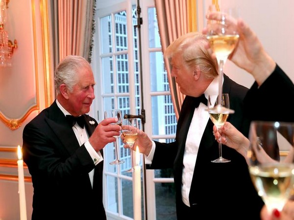 US President Donald Trump and Prince Charles at the residence of US' Ambassador to the United Kingdom on Tuesday. (Photo/Reuters)