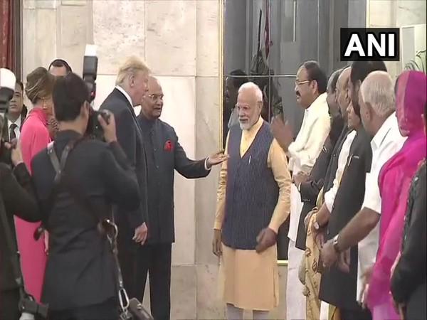US President Donald Trump with President Ram Nath Kovind, Prime Minister Modi and other dignitaries at Rashtrapati Bhavan on Tuesday. Photo/ANI
