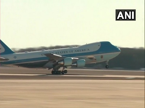 Air Force One takes off from Andrews Air Force Base in Maryland, US on Sunday.