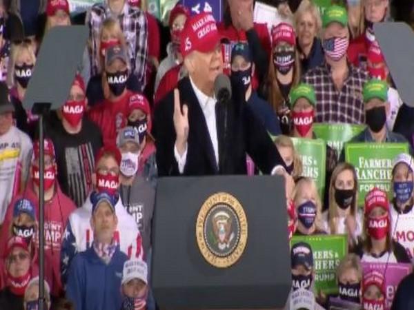 US President Donald Trump at Iowa rally