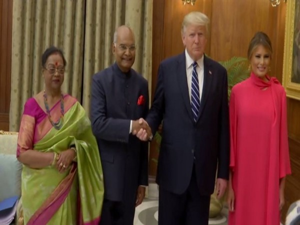 President Ram Nath Kovid and his wife Savita Kovid hosted the U.S. President Donald Trump and First Lady Melania Trump on a banquet held at the Rashtrapati Bhavan (Picture Courtesy: ANI)