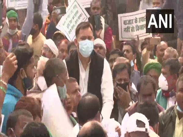 RJD leader Tejashwi Yadav during protest at Gandhi Maidan in Patna on Saturday. (Photo/ANI)