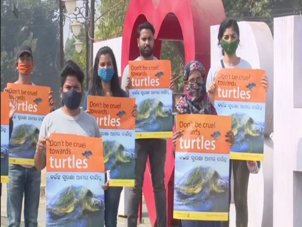 People for Animals organised a campaign for the conservation of Olive Ridley sea turtles in Bhubaneswar. (Photo/ ANI)